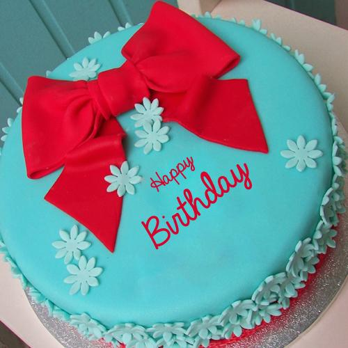 Write Name On Skyblue Birthday Cake With Red Ribbon