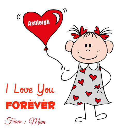 write name on cartoon love you forever greeting card