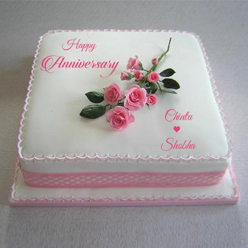 Cake Images With Name Anshu : Write Couple Name Happy Anniversary Pink Rose Cake