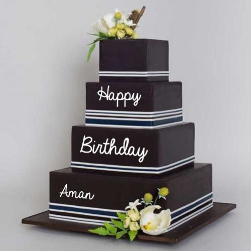 Write Name On Black Current Triple Decker Birthday Cake Wish happy birthday by name of your friends and family. mynamepixs com