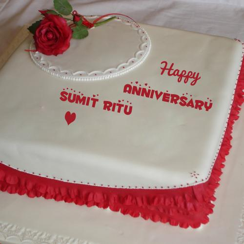 Happy Anniversary Red Rose Wishes Cake With Your Name