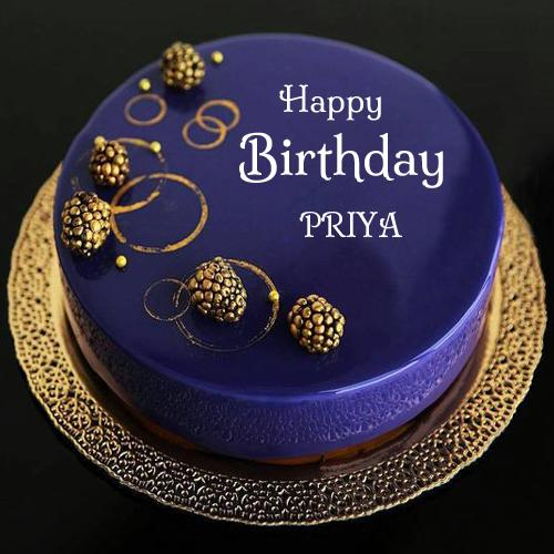 Birthday Cake Images With Priya Name : Happy Birthday Royal Blue Designer Cake With Your Name