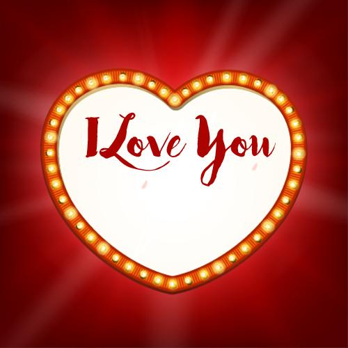 I Love You Retro Heart Romantic Greeting With Your Name