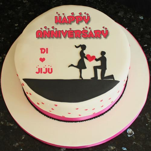 Happy Anniversary Wishes Couple Cake With Your Name