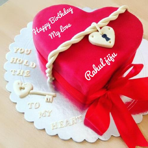 Beautiful red heart birthday cake for lover with name publicscrutiny Image collections