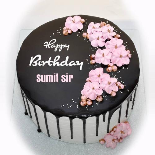 Write Name On Beautiful Floral Chocolate Birthday Cake