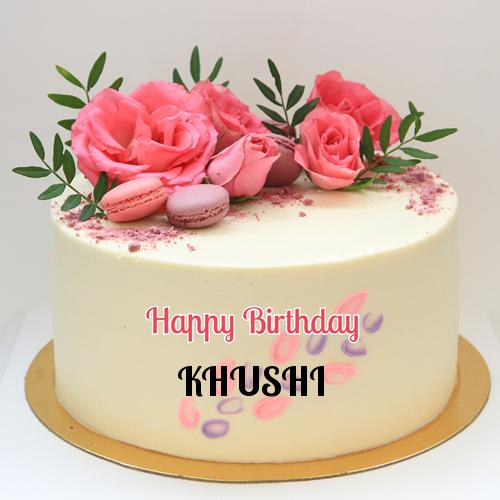 Beautiful Name Birthday Cake With Real Pink Roses