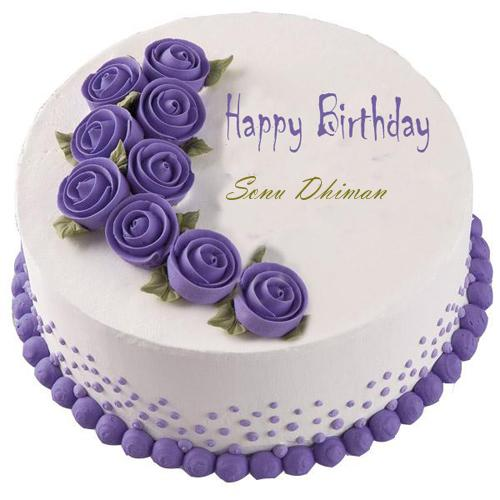 Birthday Cake Images Sonu : Write Your Name On Purple Happy Birthday Cake Online
