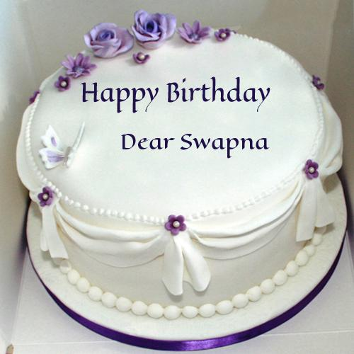 Birthday Cake Images With Name Sapna : Write Name On Violet Roses Birthday Cake For Wife