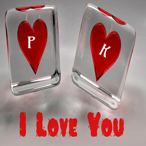 Write Alphabet On I Love You Ice Hearts Pic Online