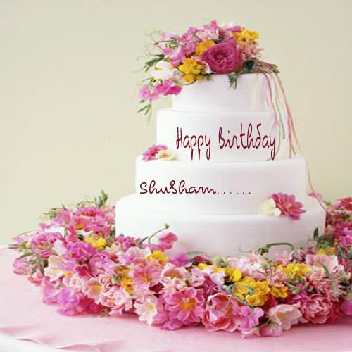 Write Your Name On Flower Birthday Cake Picture