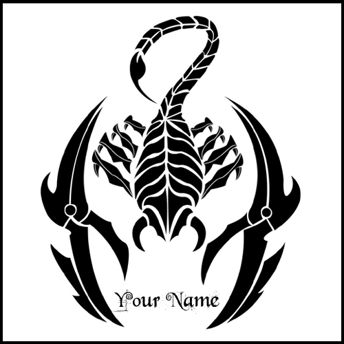 Customize Awesome Black Scorpio Tattoo Design With Name