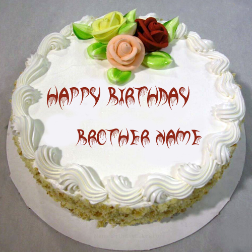 Write Name On Vanila Birthday Cake For Brother Online