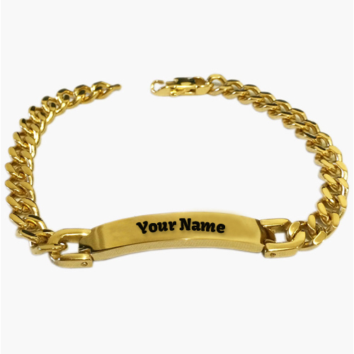 name detail on gold bracelet write free online jewellery boy