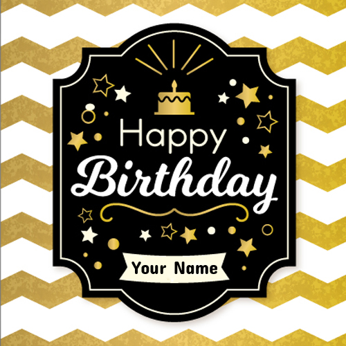 Write Name On Golden Zigzag Happy Birthday Card