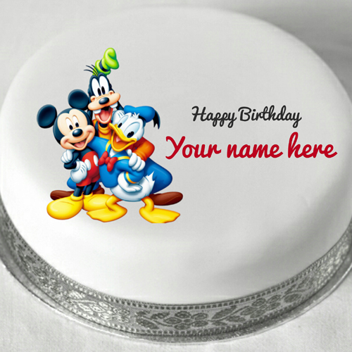 Disney Cartoon Characters Birthday Cake With Name