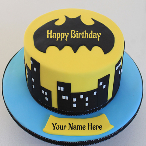 Write Name on Batman Logo Superhero Birthday Cake