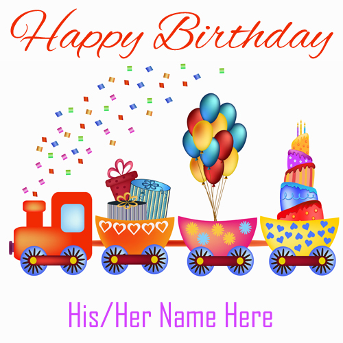 Write Name on Happy Birthday Card With Cartoon Train