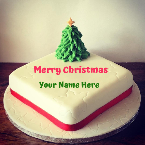 Merry Christmas Wishes Elegant Cake With Your Name