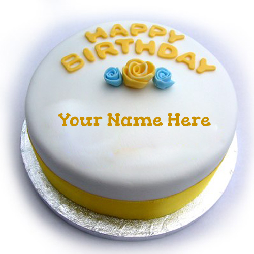 Yellow and Blue Theme Birthday Cake With Your Name