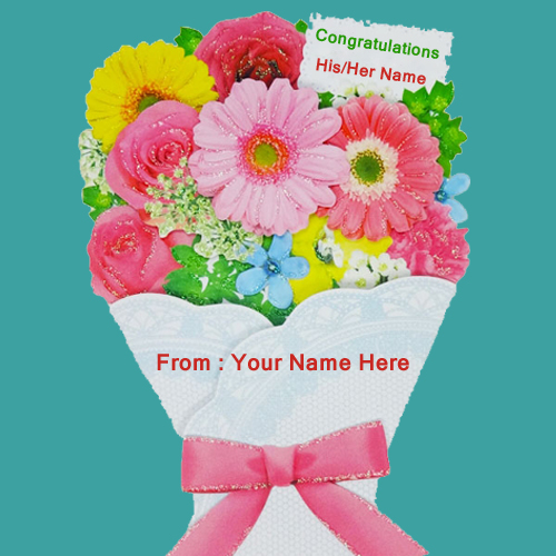 Write Name on Flower Bokeh For Congratulation Wishes