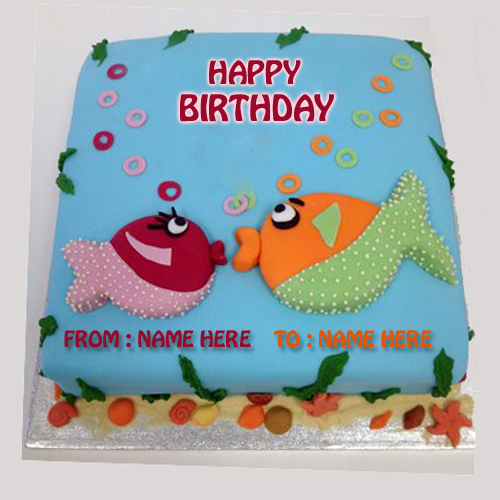 Write Name on Kissing Fish Birthday Cake Online