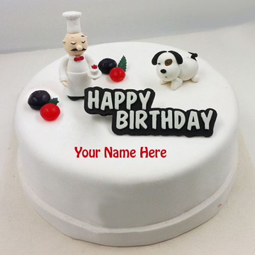 Write Name on Silicone Happy Birthday Fondant Cake