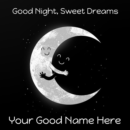 Good Night Wishes Cute Moon Hug Greeting Card With Name