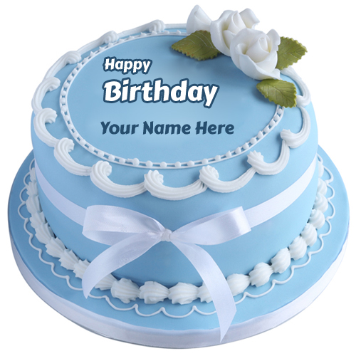 Round Light Blue White Classic Birthday Cake With Name