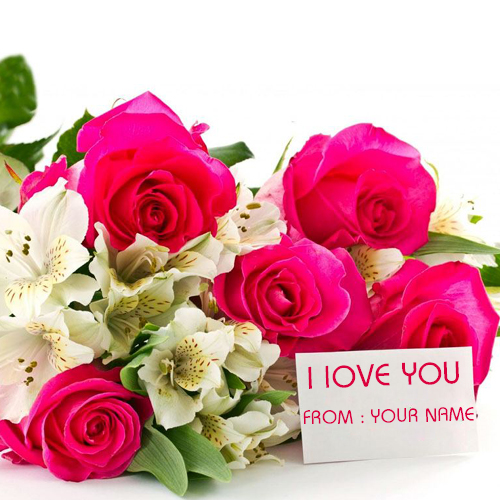 Write Your Name on Beautiful Pink Rose Bookey Card