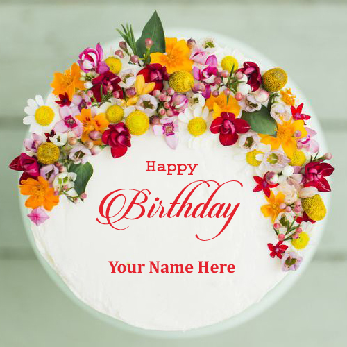 Happy Birthday Colorful Flower Cake With Your Name