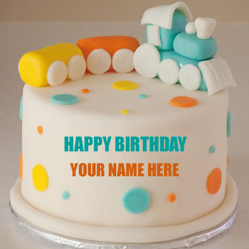 Write Name on Cute Baby Train Birthday Cake For Baby