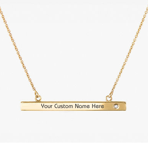 Write Name on Beautiful Bar Necklace with Gold Pendant