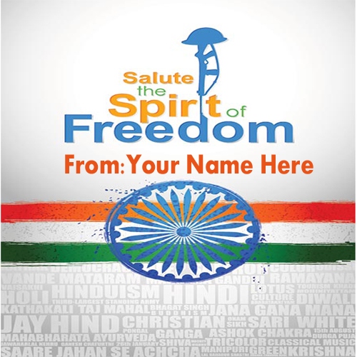 Write Name On Free Spirit Of Freedom Independence Pic