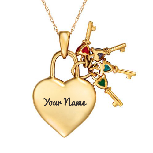 Write Name on Keys to Her Heart Birthstone Pendant