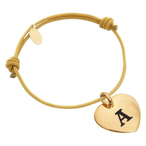 Print Name Initial Alphabet on Gold Heart Bracelet