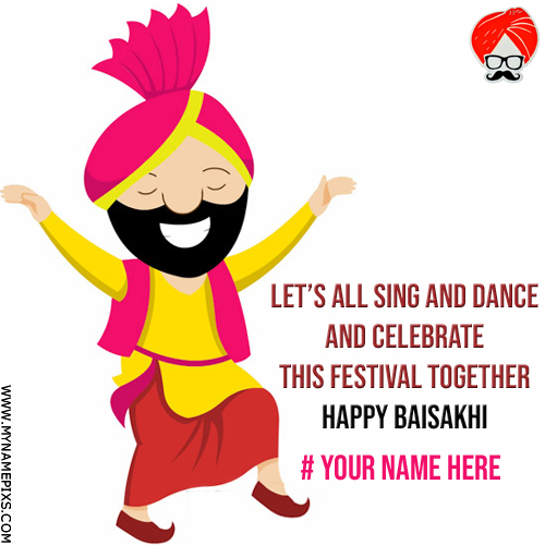 Write Your Name on Vaisakhi 2018 Festival Greeting Card