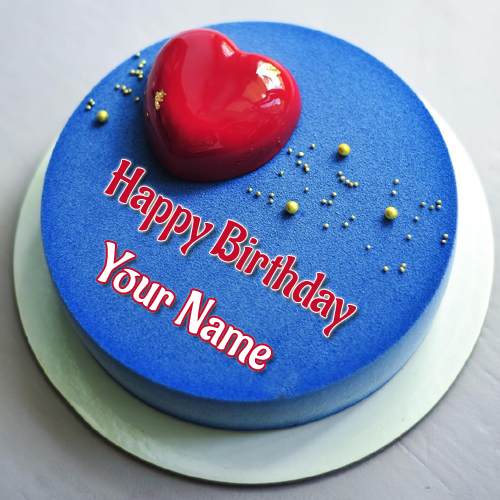 Name Birthday Wishes Cake With Romantic Heart Topper