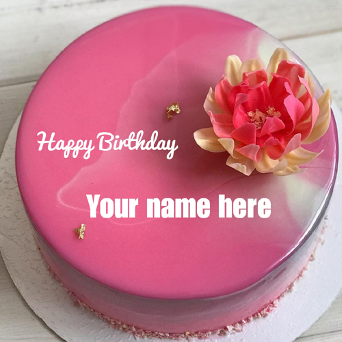 Lovely Pink Floral Art Shining Birthday Cake With Name