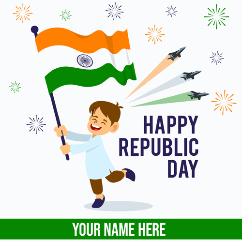 Republic Day 26th Jan Flag Hoisting Greeting With Name