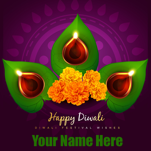 Beautiful Happy Diwali Rangoli Greeting Card With Name