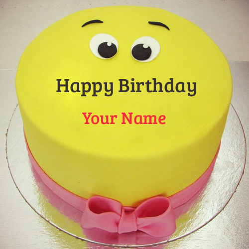 Funny Yellow Smiley Birthday Cake With Your Name