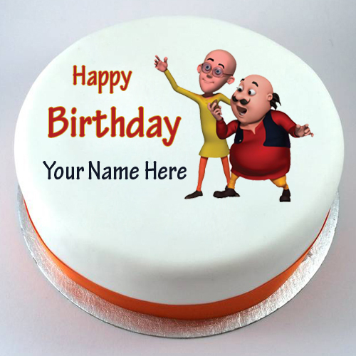 Happy Birthday Motu Patlu Cute Kids Cake With Your Nam