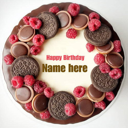 Yummy Chocolate Oreo Birthday Wishes Cake With Name
