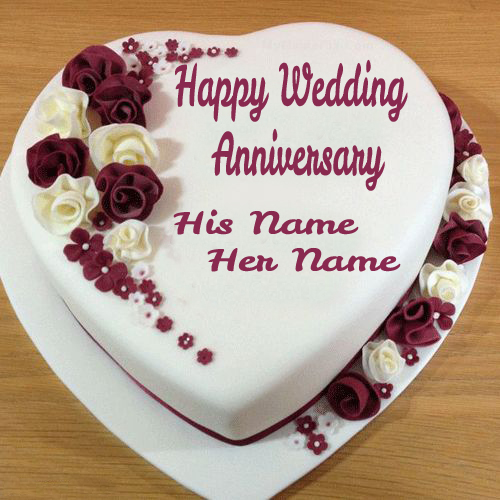 Write Couple Name On Wedding Anniversary Heart Cake