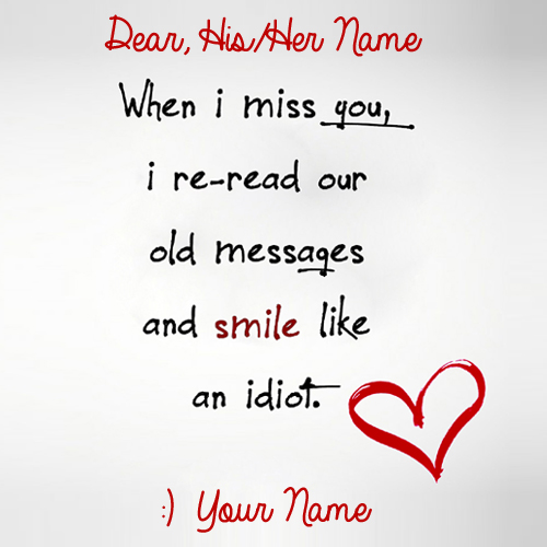Write Name on Cute Miss You Handwritten Love Note