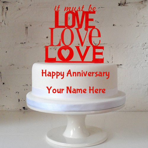 Double Layer Love Cake For Anniversary Wishes With Name