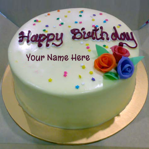 Print Name On Colourful Decorated Birthday Cake Online