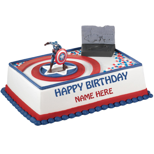 Write Name on Birthday Cake of Captain America