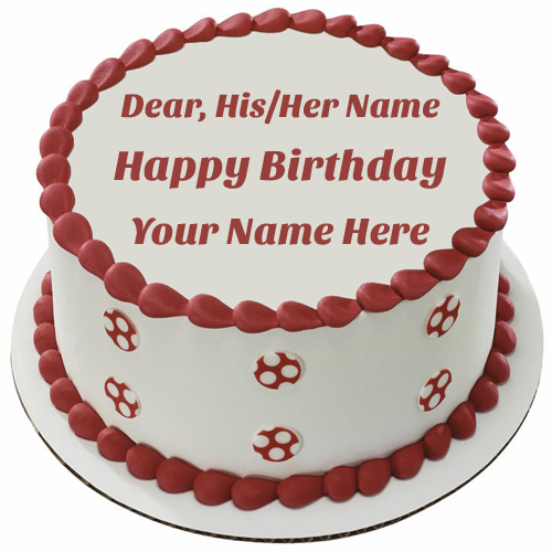 Red and White Dots Round Birthday Cake With Your Name